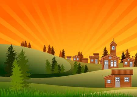 Landscape with village around a church. Vector illustration. Ilustrace