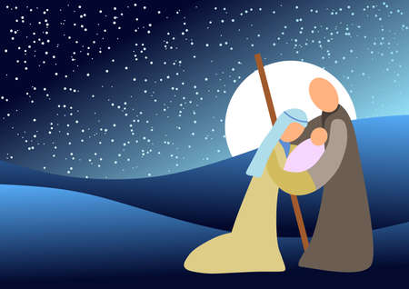 Blue tone background with christmas scene. Vector illustration.