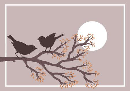 Floral background with birds on branch. Vector illustration. Иллюстрация