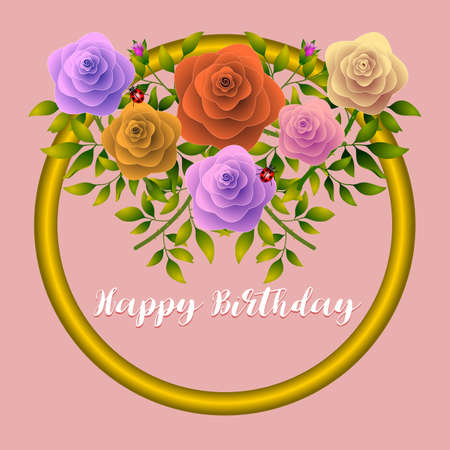 Floral frame with stylized roses. Vector illustration.