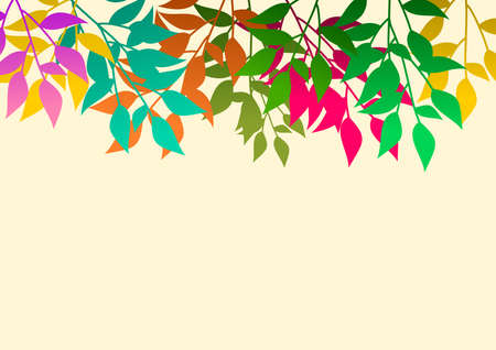 Background with branches of colored leaves. ideal for integrating a personalized message. Vector illustration. Foto de archivo - 101849619