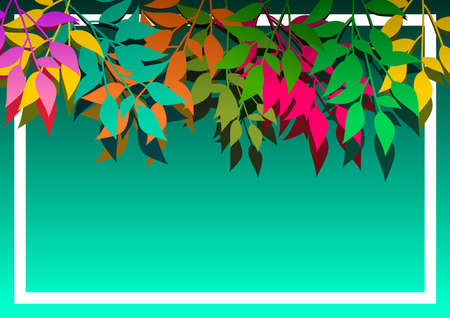 Background with branches of colored leaves. ideal for integrating a personalized message. Vector illustration. Foto de archivo - 101923382