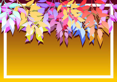 Background with branches of colored leaves. ideal for integrating a personalized message. Vector illustration. Foto de archivo - 101808377
