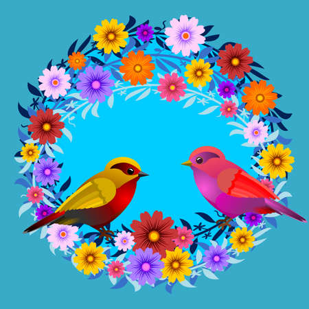 Frame with floral design, with flowers and birds. Vector illustration. Ideal for inserting a message.