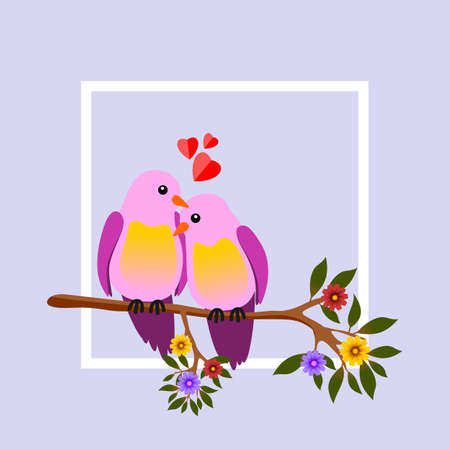 Floral frame with two passionate birds on a branch. Vector illustration.
