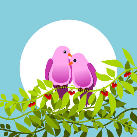Floral frame with passionate birds. Vector illustration. Ilustrace