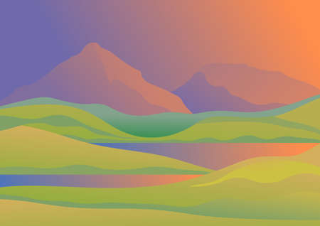 Landscape at dusk with mountains, hills and lake. Vector illustration.
