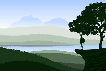 Background with natural landscape with mountains and an explorer in contemplation. Vector illustration.  イラスト・ベクター素材