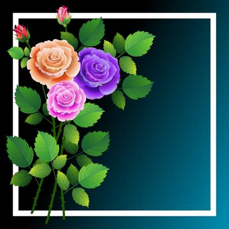 Frame with floral design with bouquet of roses. Ideal for integrating a message or dedication. Vector illustration.