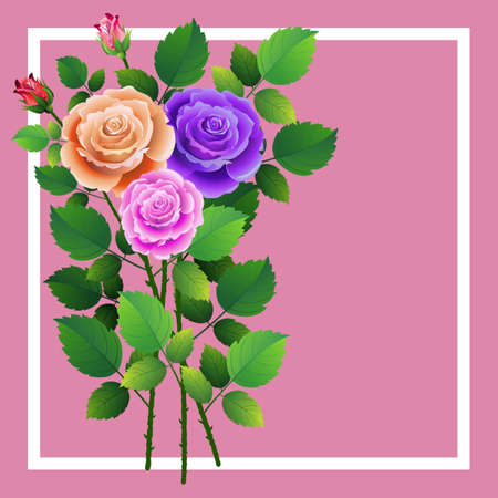 Frame with floral design with bouquet of roses. Ideal for integrating a message or dedication.Vector illustration. Ilustrace