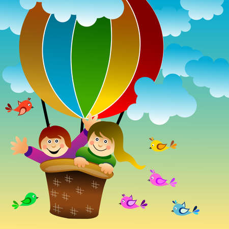 Frame with design with two happy children aboard a colorful air balloon, surrounded by cheerful birds. Clouded sky. Vector illustration.