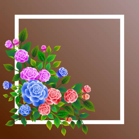 Frame with floral design composed of bouquet of fresh roses. Ideal for integrating a message or personal dedication. Vector illustration. Foto de archivo - 104378765