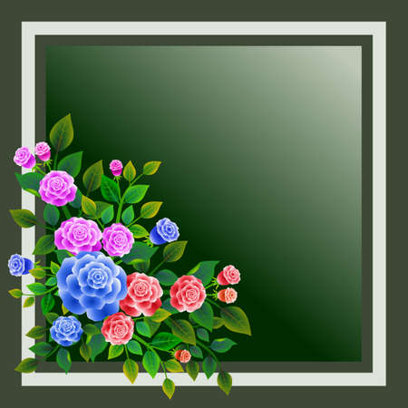 Frame with floral design composed of bouquet of fresh roses. Ideal for integrating a message or personal dedication. Vector illustration. 일러스트