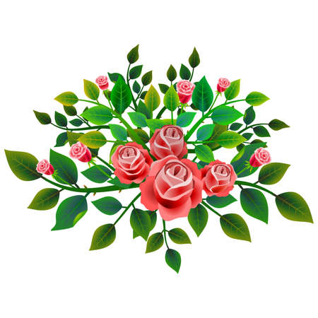 Frame with floral design composed of bouquet of fresh red roses. Ideal for integrating a message or personal dedication. Vector illustration. Foto de archivo - 104451684