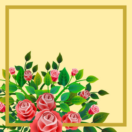 Frame with floral design composed of bouquet of fresh red roses. Ideal for integrating a message or personal dedication. Vector illustration. Foto de archivo - 104451685