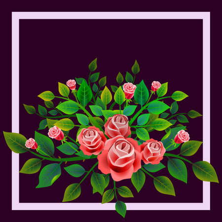 Frame with floral design composed of bouquet of fresh red roses. Ideal for integrating a message or personal dedication. Vector illustration.