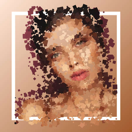 Frame with portrait of girl, with undifferentiated face, composed of geometric elements (squares) of random color and rotation. Vector illustration. Vetores