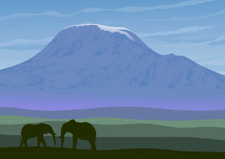 Natural landscape of African savannah with Mount Kilimanjaro in background. In the foreground, two elephants. Vector illustration.
