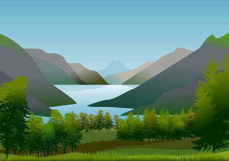 Natural landscape with blue sky with clouds, mountains, green hills and stylized afforestation. Still a lake of calm and refreshing waters. Vector illustration. Ideal for backgrounds and posters. Ilustração