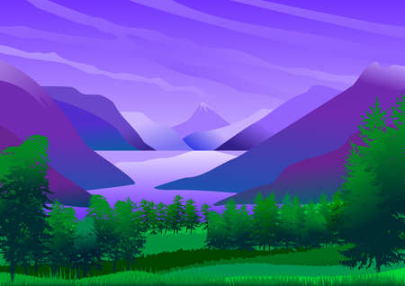 Natural landscape with blue sky with clouds, mountains, green hills and stylized afforestation. Still a lake of calm and refreshing waters. Vector illustration. Ideal for backgrounds and posters. Ilustrace