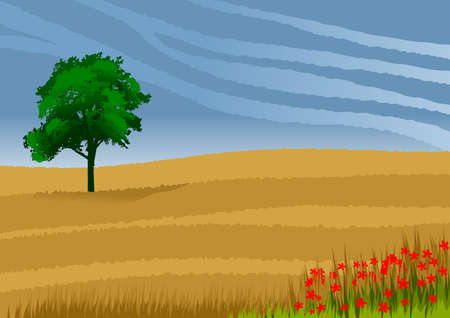 Wallpaper or background with natural landscape with plains and an isolated tree. Vector illustration.