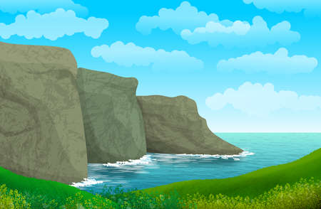 Illustration with natural landscape with sea, cliffs and coast.