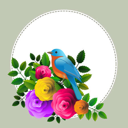 Floral frame with colorful bird over bouquet of stylized roses. Ideal for integrating a personalized message.Vector Illustration. Foto de archivo - 110860440