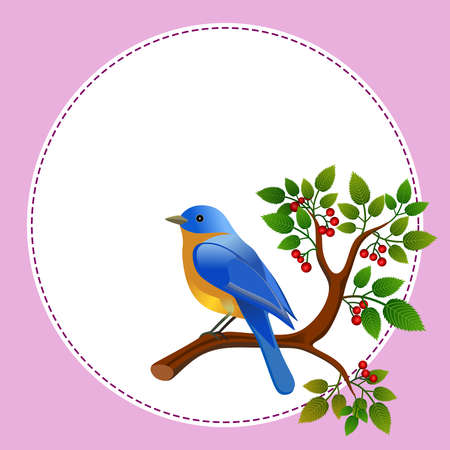 Floral frame with colorful bird over branch. Ideal for integrating a personalized message.Vector Illustration.