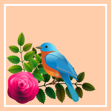 Floral frame with colorful bird over bouquet of stylized roses. Ideal for integrating a personalized message.Vector Illustration.Ideal for integrating a personalized message or dedication. Foto de archivo - 110864915