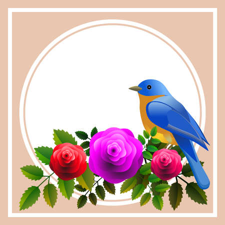 Floral frame with colorful bird over bouquet of stylized roses. Ideal for integrating a personalized message.Vector Illustration.Ideal for integrating a personalized message or dedication. Foto de archivo - 110864914