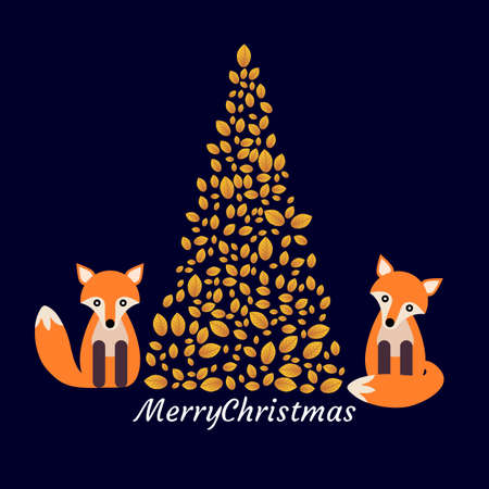 Christmas postcard with stylized pine and foxes.Illustration. With message of Merry Christma Stock Photo