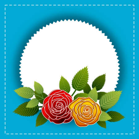 Floral frame with stylized roses. Ideal for integrating a personalized message or dedication. Illustration. 스톡 콘텐츠