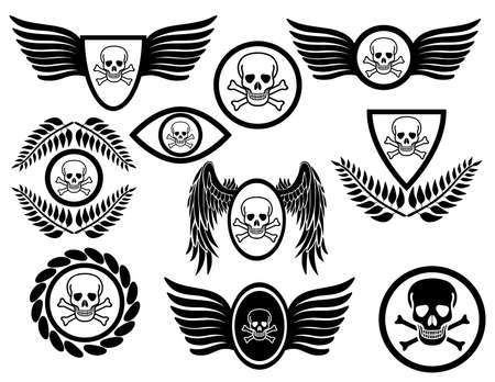 Set of emblems with skulls adorned with other elements. Isolated on white background. Vector illustration.