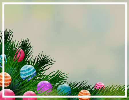 Background for Christmas postcard with pine branches and colorful balls. Illustration. Ideal for integrating a personalized message or dedication. 스톡 콘텐츠