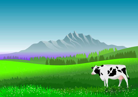 Natural landscape with mountain, meadow and a cow. Illustration with digital technique.