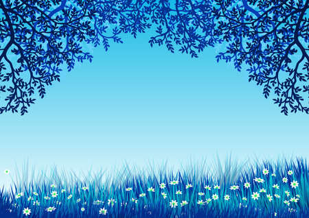 Background with landscape. Blue sky and frame of tree branches and flowering grass. Illustration. Ideal for integrating personalized text or message. Foto de archivo - 116065102
