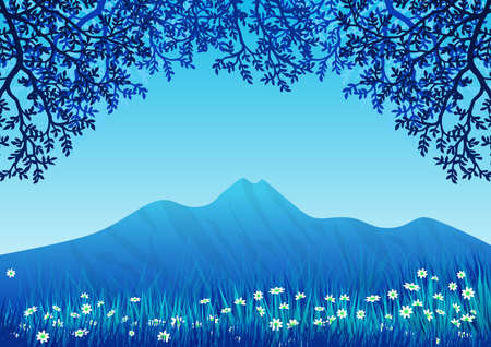 Background with landscape. Blue sky and frame of tree branches and flowering grass. Illustration. Ideal for integrating personalized text or message. Foto de archivo - 116065103