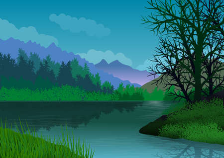 Landscape with mountains, forest, lake with calm water and trees in the foreground. Illustration. Ideal for background, wallpaper or to integrate a personalized message. Foto de archivo - 116065105