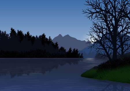Landscape with mountains, forest, lake with calm water and trees in the foreground. Illustration. Ideal for background, wallpaper or to integrate a personalized message. Foto de archivo - 116065111