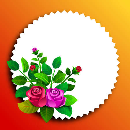 Floral frame with roses and their leaves. Illustration. Ideal for illustrating personalized message or text cards. Foto de archivo - 116065154