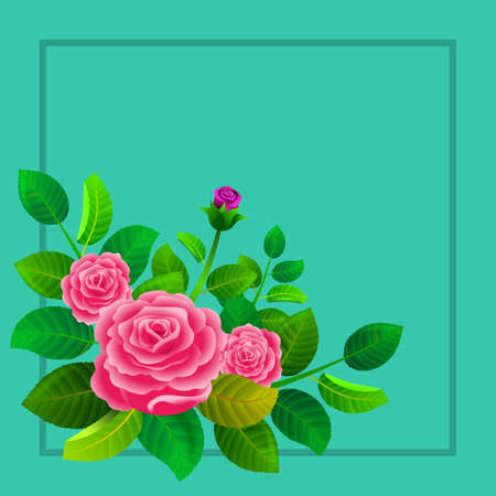 Floral frame with roses and their leaves. Illustration. Ideal for illustrating personalized message or text cards. Foto de archivo - 116065157