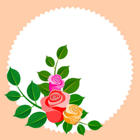 Floral frame with bouquet of roses. Ideal for integrating a personalized message, dedication or text. Ornament Decorative. Illustration. Foto de archivo - 116065164