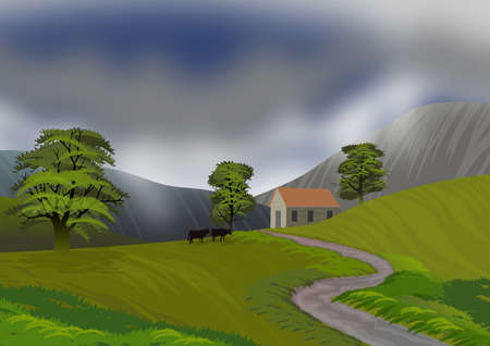 Landscape with mountain, small isolated house, silhouetted cattle grazing and swamp trees in the meadow. Illustration. Ideal for background or wallpaper.