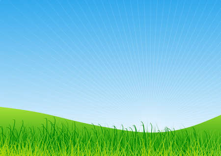 Landscape in countryside with sky at sunrise and green hills with vegetation. Illustration. Ideal for background or wallpaper and integration of personalized text or message. Foto de archivo - 119924987