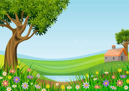 Landscape with blue sky, green hills, trees and flowers in the foreground. Illustration. Ideal for backgrounds or wallpaper. Central space to integrate message or dedication.