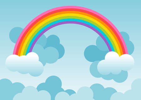 Background with rainbow over blue sky and with clouds. Illustration. Ideal for backgrounds, cards or wallpaper. To integrate a personalized message or dedication. Foto de archivo - 119925121