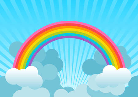 Background with rainbow over blue sky and with clouds. Illustration. Ideal for backgrounds, cards or wallpaper. To integrate a personalized message or dedication. Foto de archivo - 119925122