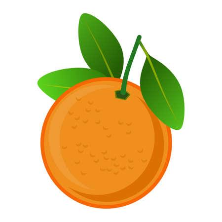 Frame with stylized orange and its leaves, isolated on white background. Illustration. Design. Banco de Imagens