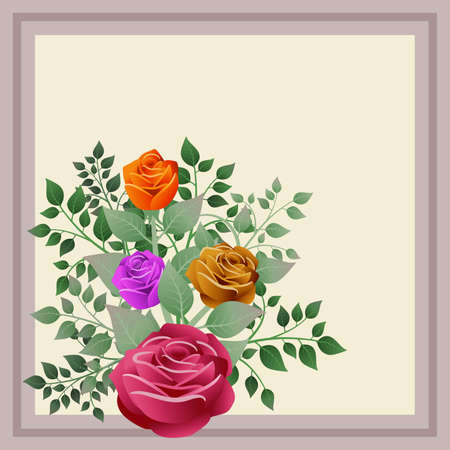 Bouquet of roses and their leaves. Ideal for illustrating business cards with dedications and personalized messages. Illustration. Foto de archivo - 119925173