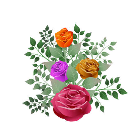 Bouquet of roses and their leaves. Ideal for illustrating business cards with dedications and personalized messages. Illustration. Foto de archivo - 119925174